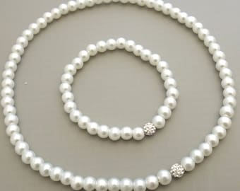 Flower Girl Gift Pearl Jewelry Necklace and Bracelet Set Flower Girl Jewelry Kids Jewelry Flower Girl Gift Idea Wedding Jewelry SET03