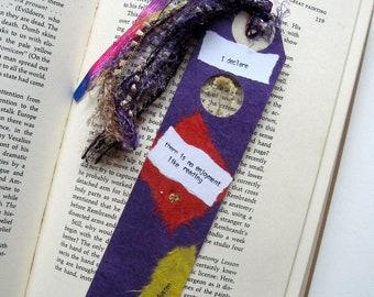 I declare - Earth Bookmark - handmade paper, pressed flower, alyssum, white, book lover, reader, librarian, teacher gift, graduation gift