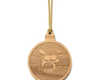 Personalized Wood Drum Set Ornament