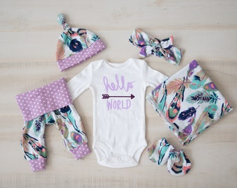 Baby Girl Coming Home Outfit: CHOOSE COMBO Hello, World Bodysuit, Feather Leggings or Shorts, Headband, Hat, Swaddle, Mittens