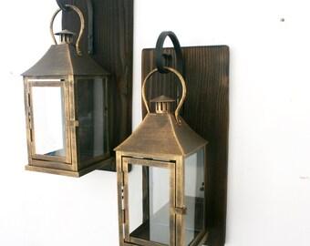 Set of 2 Lantern Sconces Rustic Hanging Lantern Lantern pair wall decor Wall sconce housewarming gift Bathroom decor Wrought iron hook