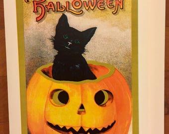 Greeting Card BLACK CAT in PUMPKIN Halloween Card and Envelope Jack O Lantern Victorian Samhain Salem