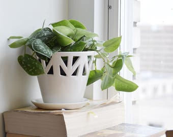 White Table Top Planter - Small