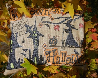The Town of Halloween - Handmade Finished Cross Stitch Pillow, 40x36cm, 162x122 stitches