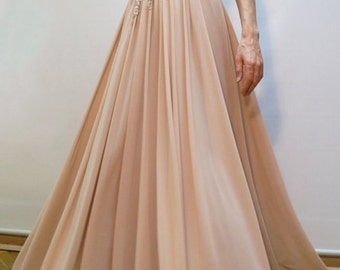 Evening Lace Dress/Chiffon Dress/ Prom Long Dress,/Handcrafted with Beads and Pearls/Romantic Dress/ F1259