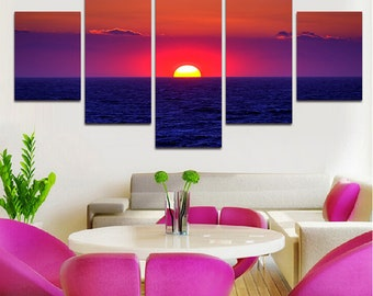 Premium Quality Canvas Printed Wall Art Poster 5 Pieces / 5 Panel, Sea Level Scenery Canvas Painting Home Decor Painting - With Wooden Frame