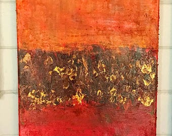 Original Abstract Untitled orange, red, yellow, burgandy, gold oil painting. Original abstract minimilist  Oil painting Abstract 12x24x.5 in