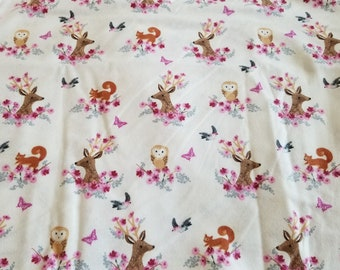 Rustic Deer & Owl Flannel Fabric | Girl Nursery Fabric | Bird Floral | Cotton Fabric