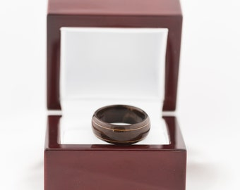 Handmade Wrapped Wood Ring - rosewood with copper inlay