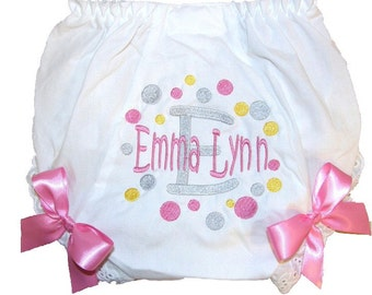 Personalized Baby Girl Diaper Cover, Bloomers Adorable Dots Design