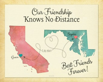 BFF Gift, Moving Away Gift for BFF, Personalized Gift for BFF, Birthday Gift for Best Friend, Any Two Places Personalized Map Art (3a)