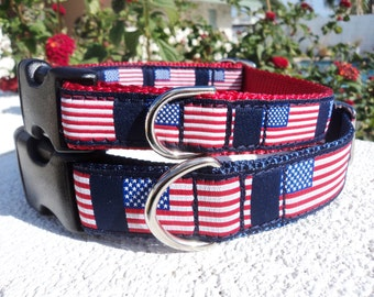 """American Flag Dog Collar, 3/4"""" or 1"""" ,Quick Release buckle  - Include dogs neck measurement - No martingale - sizes S -XL"""