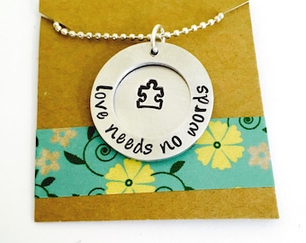 Autism Neckace- Love needs no words Autism Necklace - Autism Jewelry - Personalized Autistic Jewelry  - Autism Awareness -