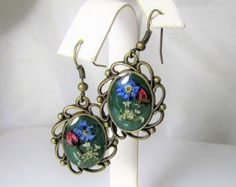 Flower Elegance  Earrings, Real Flowers,  Pressed Flower Jewelry,  Brass,  Resin (3099)