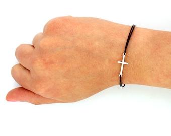 sterling silver Sideways Cross Bracelet sideways cross Bracelet with leather band (B03)