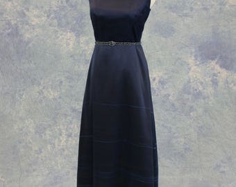 Petite Navy Blue Handpainted Mother of the Bride Formal Dress SAMPLE SALE!