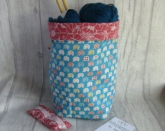 Elephant Knitting Project Bag, Crochet Bag, dice bag, sock project bag, Elephant wip bag, drawsting bag, crochet, weaving, embroidery,
