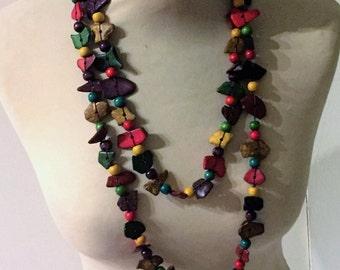 ethnic necklace, multicolor coconut shell, handmade