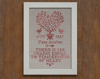 INSTANT DOWNLOAD Tenderness of Heart A Jane Austen Sampler PDF counted cross stitch patterns by Modern Folk monochromatic