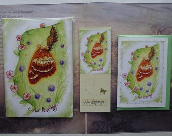 New Beginnings Notebook, Handmade Bookmark and Card Gift Set