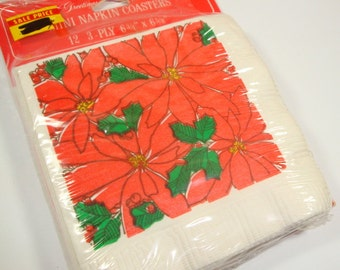 Paper Napkin Christmas Mini Coasters, Red Poinsettia's, Set of 12 3-ply, Party Goods, American Greetings, New Old Stock  (294-15)