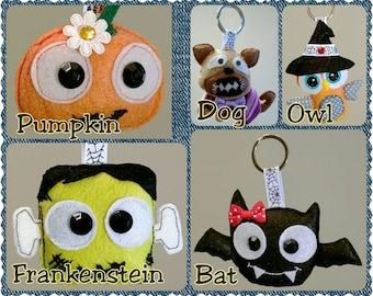 Cute Keychain, Pumpkin, Dog, Owl, Frankenstein, Bat, Felt Keychain Charm, Cute Felt Keychain Decoration, Bag Accessory