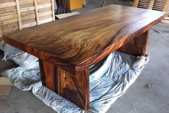 Live edge dining table reclaimed solid slab acacia wood for 3 inch thick wood slab