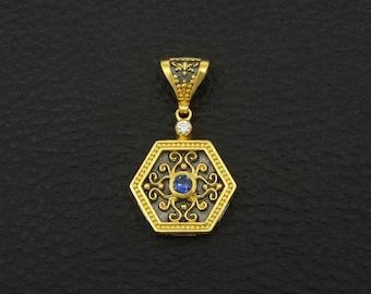 Sapphire Cz Pendant Byzantine Style 925 Sterling Silver 22K Gold & Black Rhodium Plated Greek Handmade Art Luxury