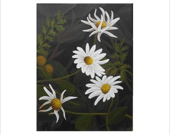 Fine Art Daisy Painting, White Daisies Original Contemporary Art, White Flower Painting, Acrylic Painting on Canvas, Bold Flower Artwork