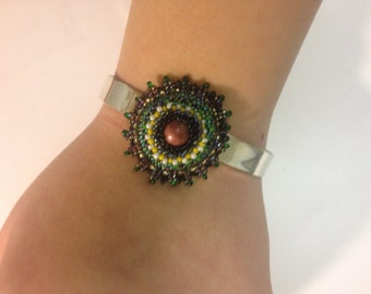 Beaded Rhodonite Adjustable Bracelet, Beadwoven Cuff, Black Green, Silver Plated Floral Cuff - Adjustable Bracelet by enchantedbeads on Etsy
