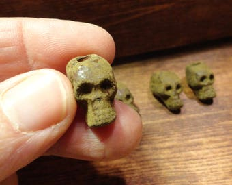 Skull beads.  Set of 4.  Handcrafted stoneware pottery.  Green oxide glaze.