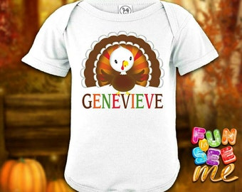 Thanksgiving Turkey - Personalized with Name Bodysuit / Onesie / Boys / Girls / New Baby / Shower Gift