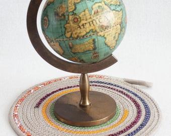 Fabric Coiled Mat / Mug Rug / Trivet / Hot Pad / Coiled Rope Mat / Colour Splash Rainbow Round / by PrairieThreads