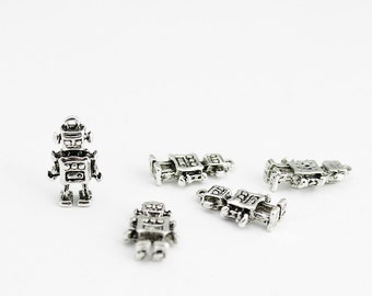Antique Silver Robot Charms - 5 Pieces