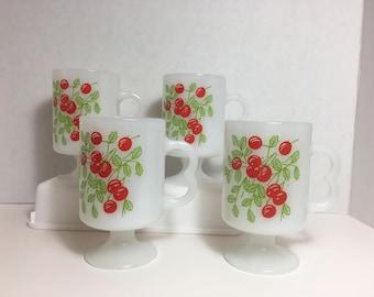 Milk Glass Cherry Cups Mugs Vintage