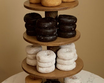 Rustic Groom's Donut Stand 4 Tier (Holder, Tower) holds 70 Donuts for Wedding, Birthday, Anniversary, Party - Wood Wooden
