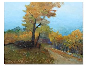 Small realistic landscape painting, plein air art, classic style painting, autumn landscape, autumn tree.