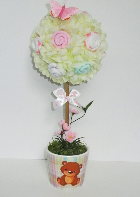 Baby shower topiary socks flower topiary ivory shower like this item negle Images