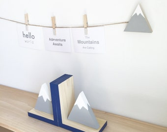 Mountain Bookends, Adventure Nursery, Adventure Kids, Off to the Mountains, Children's Bookends, Baby Nursery, Mountain Art, Wood Mountain