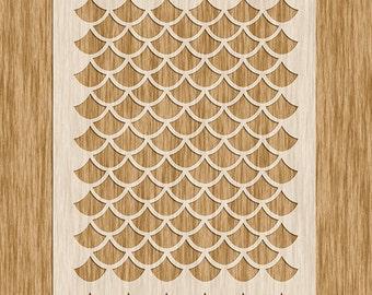 "Fish Scale Large Pattern Stencil - Sku AP0101 (8.5"" x 11"")"