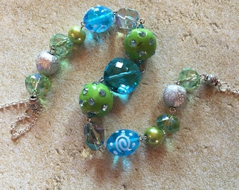 Blue and Green Necklace, Glass Beaded Necklace, Beadwork Necklace, Statement Necklace, Gift For Her