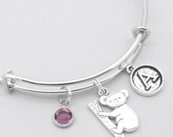 Koala bear vintage style initial charm bracelet | koala bangle | personalised koala bracelet | koala jewelry | koala gift | birthstone