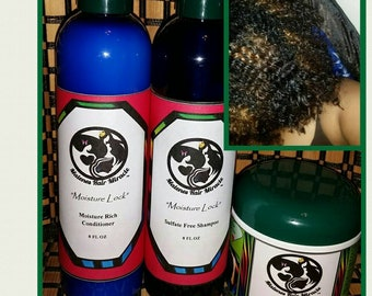 Moisture Lock Sulfate free, Paraben free Cleansing Shampoo & Moisture Rich Conditioner w/ DIVINE REMEDY Combo