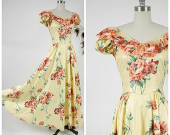 Vintage 1940s Dress - Summer 2017 Lookbook - Gorgeous Rare New York Creations 40s Gown of Yellow Polished Cotton with Orange Rose Floral