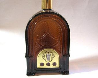 Avon Bottle Antique Cathedral Radio 1970s Vintage Decanter Brown Glass 1930s 1940s Style Art Deco Wild Country Aftershave