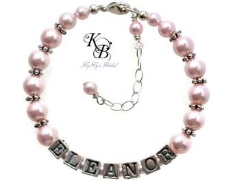 Personalized Bracelet Flower Girl Jewelry Little Girl Jewelry Flower Girl Gift Custom Name Bracelet Personalized Flower Girl Bracelet