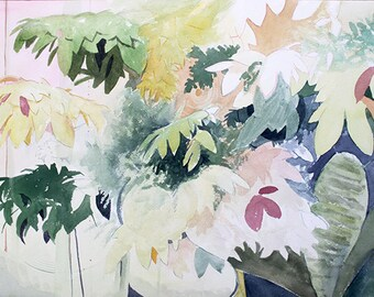 Leaves orginal watercolor painting 20 x 16