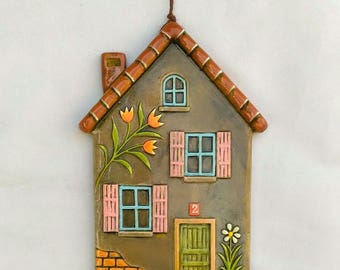 Embossed Ceramic House with louvered windows,wall decore