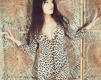 Vintage 70s Leopard Print Maxi-Dress