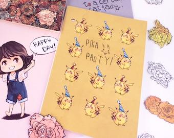 Pikachu birthday card  Pokemon Card   Blank Greeting Card   Happy Birthday Card   Celebration Card   Congratulations Card   Pokemon birthday